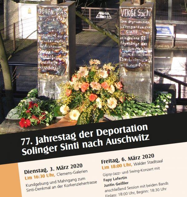 77. Jahrestag der Deportation Solinger Sinti und Jenischer