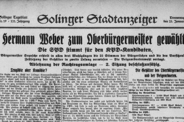 """Vortrag """"Das ,rote Solingen' 1920 bis 1933″"""